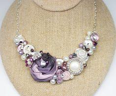 Plum Statement Necklace Purple Bib Necklace Floral by BrassBoheme, $75.00