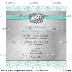 Aqua & Silver Elegant Wedding Invite - 2 New