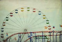 Carnival Ride Photograph Red Coaster Tracks Ferris Wheel Retro Carnival Decor Pale Mint Aqua Red wall decor 8x12