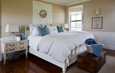 bed-and-mirror.  Simple uncluttered bedroom from Cedar Hill Farmhouse blog