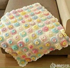 CTejidas [Crochet y Dos Agujas]: Patrón #1852: Como tejer una linda manta a crochet...