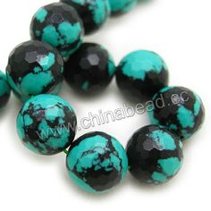 Gemstone Beads, Imit. Black Veins Turquoise, Faceted round, Approx 20mm, Hole: Approx 1.2mm, 20pcs per strand, Sold by strands