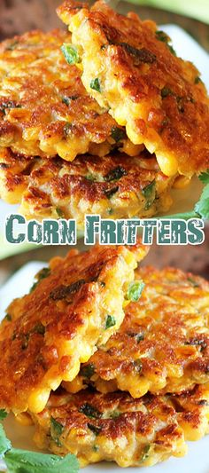 Corn Fritters Recipe Add just a tiny pinch of sugat Corn Fritter Recipes, Corn Recipes, Side Dish Recipes, Mexican Food Recipes, Vegetarian Recipes, Cooking Recipes, Recipies, Cornmeal Recipes, Fingers Food