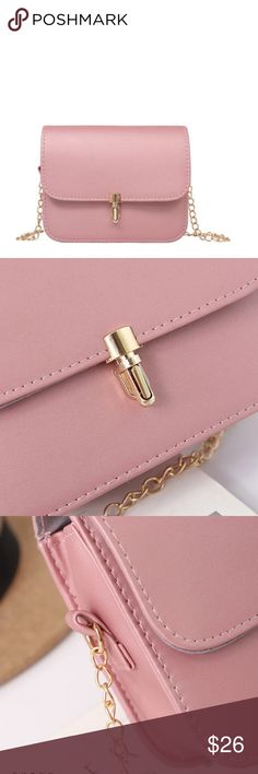 Adorable BLUSH crossbody bag with gold chain So cute!   Crossbody design is perfect for every occasion. Love this light pink color for spring. Gold chain goes perfectly with the delicate 3 strand necklace available in my store. Bundle and save! Bags Crossbody Bags