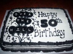 50th birthday cake - Sheet cake with all CBC and mmf for the balloons and 50.