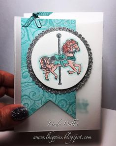 The Carousel Birthday set has become a firm favourite for me! Kids Cards, Baby Cards, Stampin Up Carousel Birthday, Carnival Card, Birthday Blast, Carousel Party, Horse Cards, Craftwork Cards, Party Gift Bags