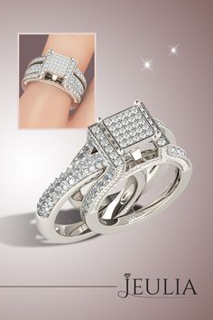 Pave Setting Interchangeable Round Cut Created White Sapphire Sterling Silver Women's Ring #jeulia