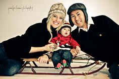 Adding a holiday prop, like a sleigh, can make a perfect family photo on a postcard.  #holidays #cards #Christmas #photography