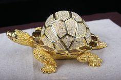 Big Size faberge turtle jewelry trinket box Turtle Crystals Jewellery Jeweled Trinket Gift Box Turtle russian Jewellery box