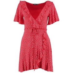 Boohoo Molly Valentines Ditsy Heart Tea Dress ($20) ❤ liked on Polyvore featuring dresses, maxi dresses, red bodycon dress, jersey maxi dresses, red dress and body con dress