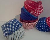 Red White and Blue Baking Cups