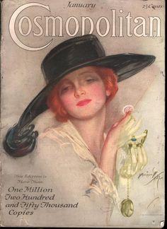 "Kittyinva: January, 1920 cover of ""Cosmopolitan"" illustrated by Harrison Fisher. Vintage Prints, Vintage Posters, Vintage Art, Vintage Paper, Magazine Art, Magazine Covers, Cosmopolitan Magazine, Vintage Magazines, Vintage Girls"