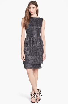 Tiered Metallic Sheath Dress  MAGGY LONDON