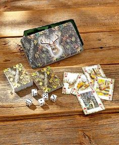 Outdoorsman Card & Dice Gift Tins Themed Deer Horses Fishing