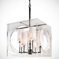 Regina Andrew Design Acrylic Cube Chandelier, Radiating refined, modern elegance above a dining room or grand entryway, this acrylic chandelier shows off clever cutouts and eight slender shades. Acrylic Chandelier, Pendant Chandelier, Lantern Pendant, Chandelier Lighting, Square Chandelier, Luxury Chandelier, Home Lighting, Modern Lighting, Lighting Ideas