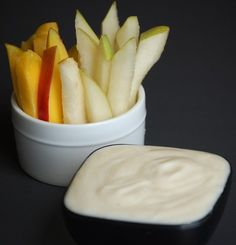fruit dip I used 1/3 cup plain yogurt 1 TBL brown sugar. For the fruit I used:  Sliced mangoes Sliced pears But you could also use apples Bananas melon's