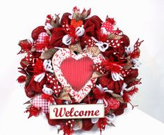 Valentine's Day Red Burlap With Welcome Sign Deco by Crazyboutdeco