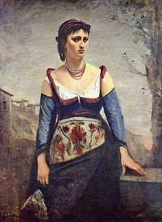 "Jean Baptiste Camille Corot, L'italienne (Agostina Segatori in costume ""tipico"")"
