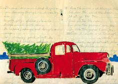 """""""Over the River"""" by Amy Rice holiday card. Vintage red truck with Christmas tree in bed. Christmas Red Truck, Christmas Card Crafts, Christmas Tree Farm, Christmas Scenes, Christmas Printables, Winter Christmas, Vintage Christmas, Christmas Decorations, Holiday Cards"""
