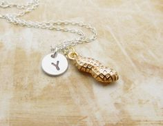 Peanut Charm Necklace Personalized by StampedCharmsJewelry on Etsy, $16.00