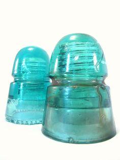 Vintage Insulators. Turquoise. Home Decor HEMINGRAY-21- made in the USA. Aqua blue. $18.00, via Etsy.