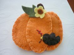 Felt Brooch Sunflower Pumpkin And Crow