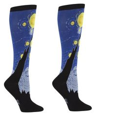 Show the world how you light up the night sky with these wonderful socks inspired by master painter Vincent Van Gogh. 75% cotton, 20% polyester, 5% spandex. Made in Korea. Approximately fits women's shoe size 5-10.