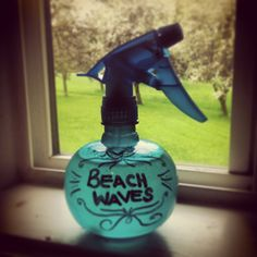 Beach Waves Spray! Makes your hair look/feel/smell like you've been swimming in exotic waters all day!  Mix: 2 cups hot water, 4 Tbsp Epsom salt (I used some with lavender oil), 2 tsp clear aloe vera gel, 2 tsp hair gel (opt.), a few drops essential oil (opt.) Mix well and pour into a 16oz spray bottle. To Use: Apply to damp hair, scrunch with towel and air dry.