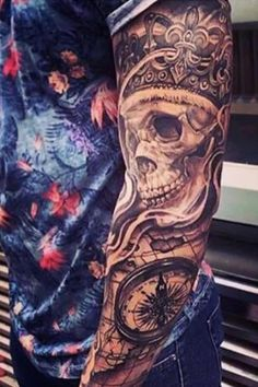 Skull Rose Tattoos, Evil Tattoos, Skull Sleeve Tattoos, Tattoos Arm Mann, Best Sleeve Tattoos, Arm Tattoos For Guys, Mann Tattoo, Samurai Tattoo Sleeve, Forearm Tattoo Pain