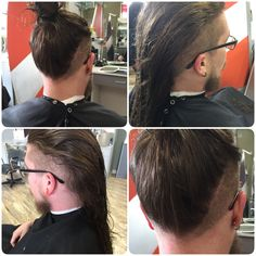 Men long hair layered with shaved sides