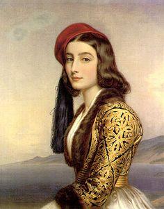 Joseph Stieler, Portrait of Katharina Bozzaris, daughter of Marco Bozzaris, 1800s