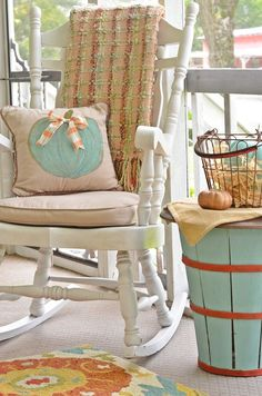 Festive Fall Covered Porch Tour in soft aqua blue and orange - at Cottage at the Crossroads