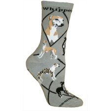 Whippet on Gray Ultra Lightweight Stretch Cotton Crew Socks One Size Fits Most Whippet Dog, Laser Art, Bolster Cushions, Tapestry Bag, Novelty Socks, Dog Design, Crew Socks, Dog Breeds, Whippets