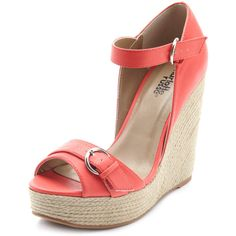 2-Buckle Front Espadrille Wedge ($20) ❤ liked on Polyvore