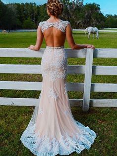 Trumpet/Mermaid Scoop Neck Tulle Appliques Lace Sweep Train Champagne Open Back Pretty Prom Dresses