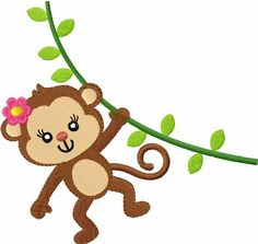 Etsy :: Your place to buy and sell all things handmade Applique Embroidery Designs, Machine Embroidery Patterns, Embroidery Ideas, Art Projects, Sewing Projects, Monkey Pictures, Cartoon Monkey, Monkey Girl, Year Of The Monkey