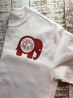 de5b92b1ab04 Alabama Monogram Long Sleeve Elephant Monogram Alabama Shirt Crimson Tide  Tee