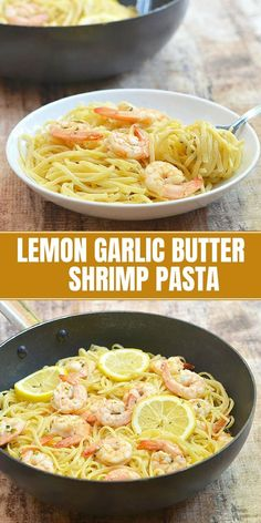 Lemon Butter Garlic Shrimp Pasta – Onion Rings & Things Lemon Butter Garlic Shrimp Pasta with linguine noodles and plump shrimps drenched in buttery, garlicky and lemony flavors. It's a refreshing and scrumptious dinner meal perfect for busy weeknights! Healthy Pasta Recipes, Healthy Pastas, Seafood Recipes, Cooking Recipes, Shrimp Recipes For Dinner, Garlic Butter Shrimp Pasta, Butter Pasta, Shrimp With Pasta, Lemon Shrimp Pasta