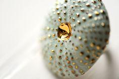 Turquoise oursin 22k Gold  bijoux en par PorcelainAndStone sur Etsy