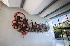 """Saatchi Public Art Artist Uri Dushy; Office building lobby Sculpture, """"Chasing Time in the Lobby"""" #art"""