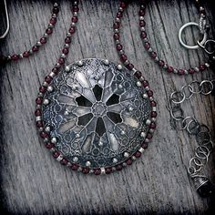 Etched Sterling Silver & Ruby Rose Window by EraArtJewelry on Etsy