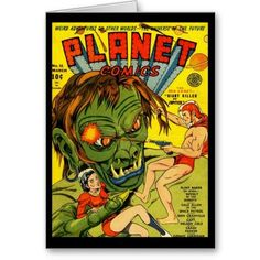 Shop Cards Comic Book Covers Vintage created by Zazzle_Vintage. Vintage Book Covers, Vintage Comic Books, Comic Book Covers, Vintage Comics, Planet Comics, Vintage Graphic Design, Custom Greeting Cards, Vintage Postcards, Postcard Size