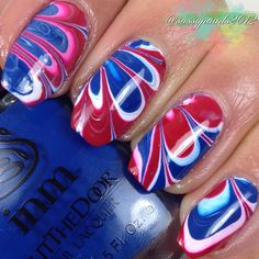 SassyPaints: Red, White & Blue Watermarble.