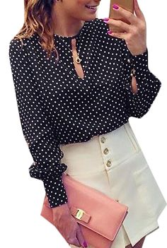 f7d81be8326cf8 Long Sleeve Slit Open Women Blouse Chiffon Hollow Sexy Casual Shirt Plus  Size Women Tops Blusas bluse Polka Dots Shirt Top