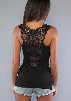 360dbf9b337ba0 Black Patchwork Lace Scoop Neck Streetwear Cotton Vest