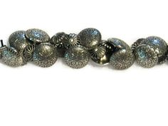 Metal Button Bracelet.  SALE  Silver-black and by NammersCrafts