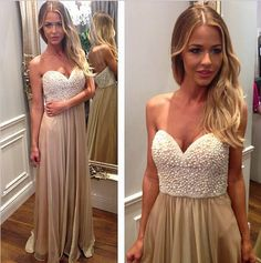 Ivory Pearls Champagne Skirt Long Prom Dresses,A Line Sweetheart Evening Prom Gowns,Charming Graduation Dresses, Wedding Party Gowns,Formal Women Dress 2016