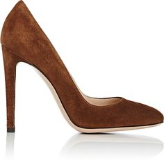 """Exclusively Ours! Gianvito Rossi Texas (dark brown) suede Roma rounded-toe pumps. 4""""/100mm heel (approximately). Rounded toe. Self-covered stiletto heel. Slips on. Lined with smooth leather. Leather sole. Available in Texas (dark brown). Made in Italy."""