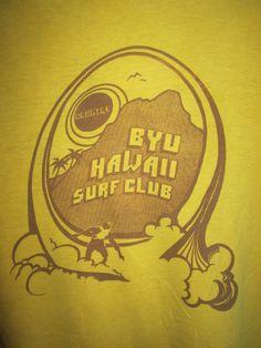 Vintage 1970s Hawaii BYU Surf Club Beach Hi Cru T Shirt