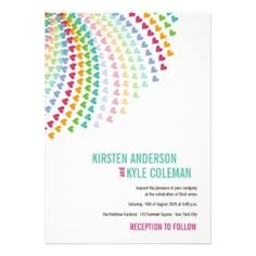 Fatfatin Rainbow Heart Sprinkles Wedding Invite